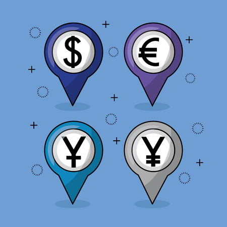 foreign exchange currency icons locations vector illustration