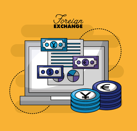 foreign exchange computer money currency stacks vector illustration