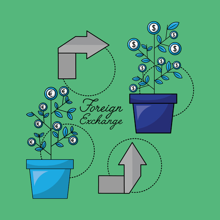 foreign exchange plants euro dollar currency arrows change cycle vector illustration Illustration