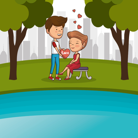 couple in love on park chair vector illustration design Иллюстрация