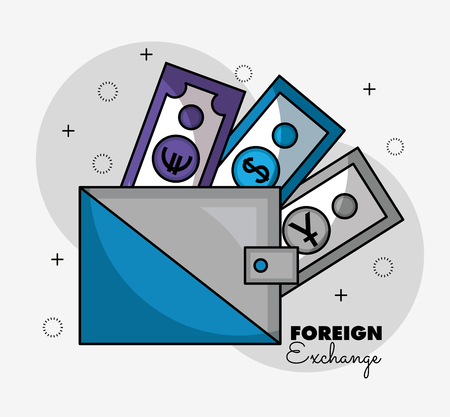 foreign exchange wallet money yen dollar euro vector illustration