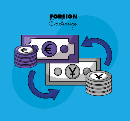 foreign exchange currency stacks money vector illustration