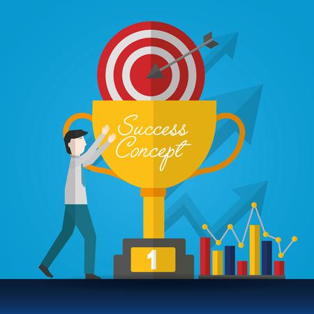 success concept man pointed trophy pointer statistics win vector illustration Illusztráció