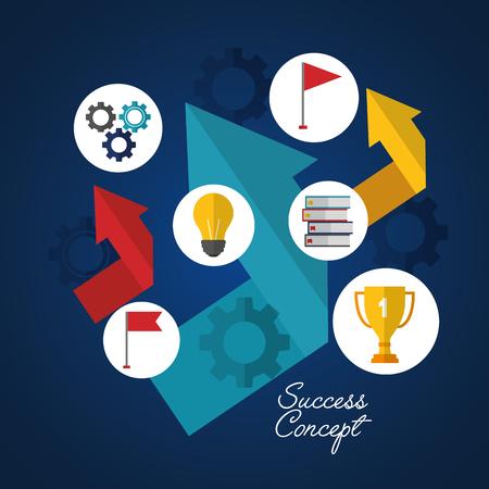 success concept arrows colors going up stickers trophy statistics light bulb wheels vector illustration