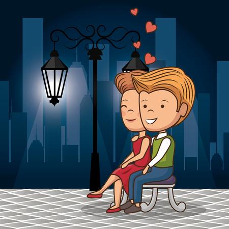 couple in love on the street at night vector illustration design Illusztráció