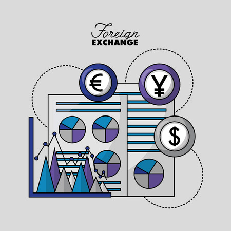 foreign exchange papers probability statistics icon currency money vector illustration