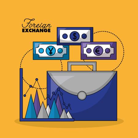 foreign exchange portfolio money statistics vector illustration
