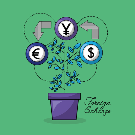 foreign exchange plant icon currency money arrows vector illustration