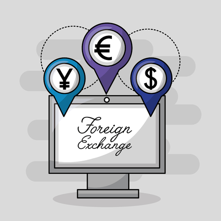 foreign exchange computer location icon money vector illustration