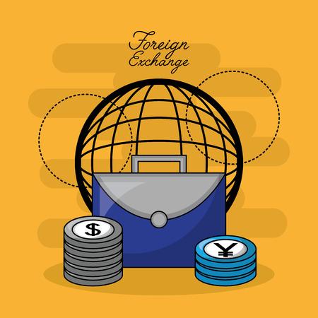 foreign exchange global portfolio coins stack vector illustration