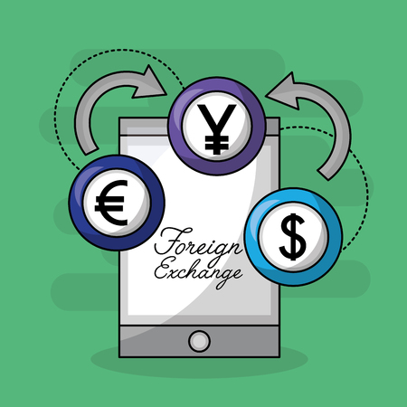 foreign exchange smartphone coins icon vector illustration