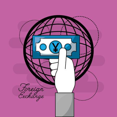 foreign exchange globlal hand holding money yen vector illustration