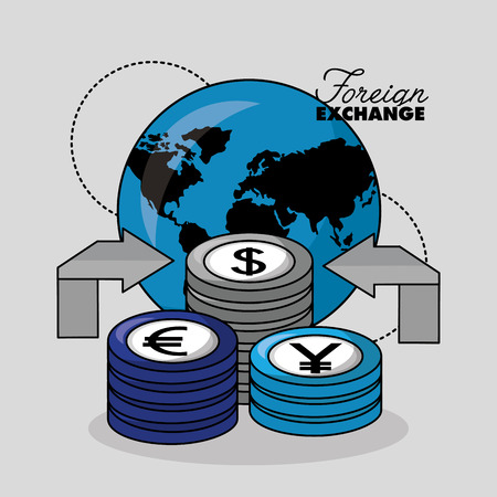foreign exchange world icon currency stack vector illustration