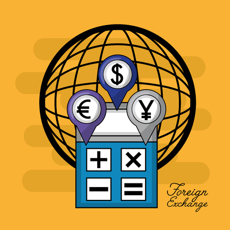 foreign exchange world calculator location icons coins vector illustration