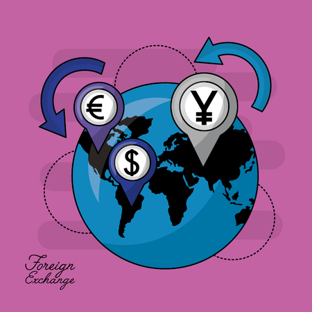 foreign exchange global money icons location vector illustration