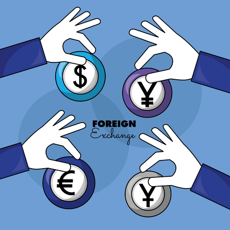 foreign exchange hands holding currency yen euro dollar vector illustration