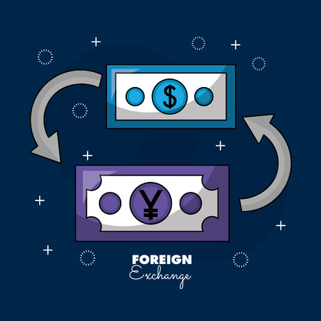 foreign exchange money dollar yen vector illustration Illustration