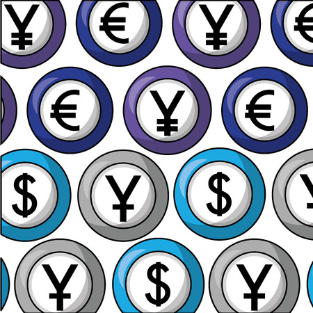 foreign exchange euro yen dollar currency background vector illustration Stock Vector - 111864716