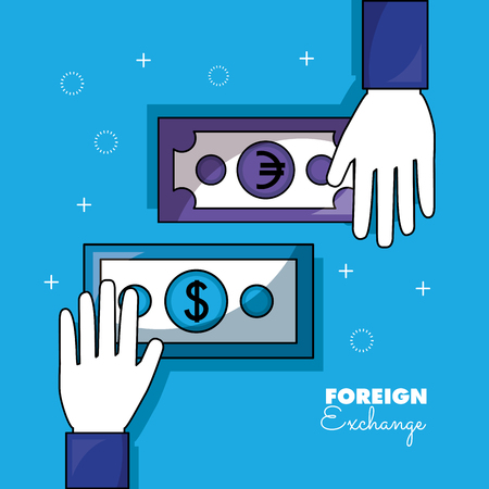 foreign exchange hands touch money vector illustration