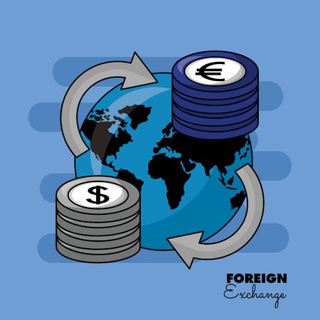 valuta estera globale intorno a pile di valuta illustrazione vettoriale