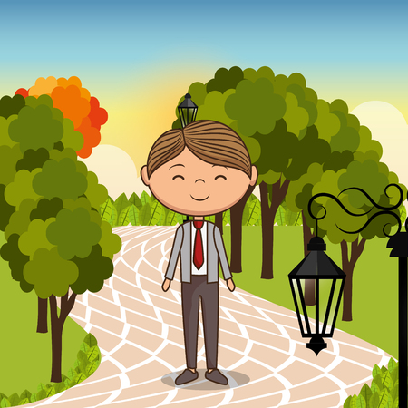 man in love in the park vector illustration design