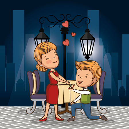 bridal couple having dinner on the street at night vector illustration design Illustration
