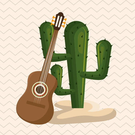 cactus with mexican culture icons vector illustration design