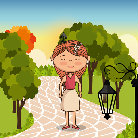 young woman in the park vector illustration design