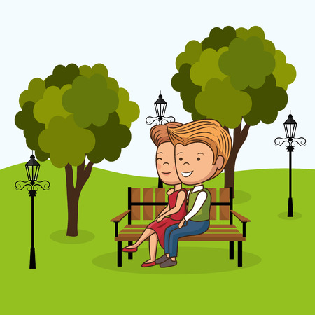 couple in love on park chair vector illustration design Illustration