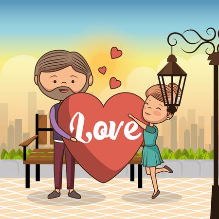 couple in love on park chair vector illustration design Illustration