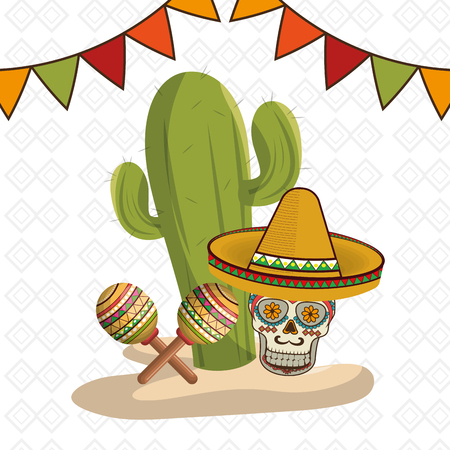 cactus with mexican culture icons vector illustration design Vettoriali