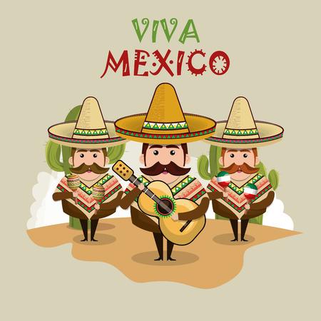 Carattere messicano dell'uomo con progettazione dell'illustrazione di vettore delle icone della cultura