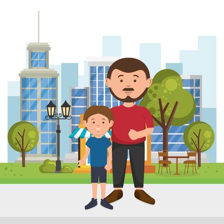 father with son on the park vector illustration design Illusztráció
