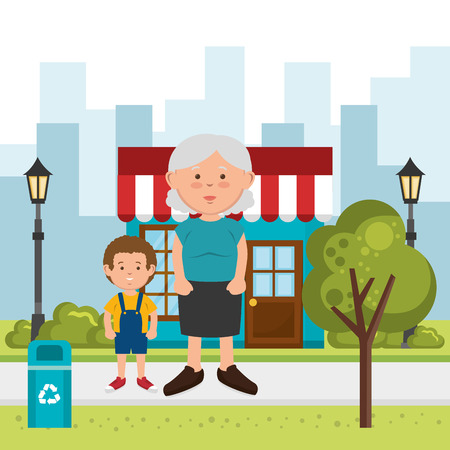 grandmother with grandson on the street vector illustration design