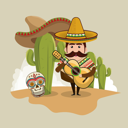 mexican man character with culture icons vector illustration design