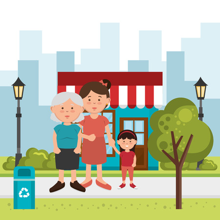 family members on the park vector illustration design
