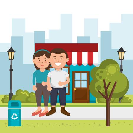couple lovers on the street vector illustration design Illustration