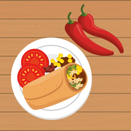 burrito mexican traditional icons vector illustration design
