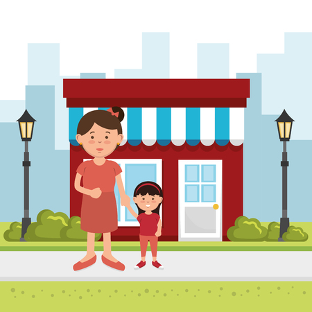 mother with daughter on the park vector illustration design