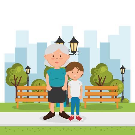 grandmother with grandson characters vector illustration design Ilustração