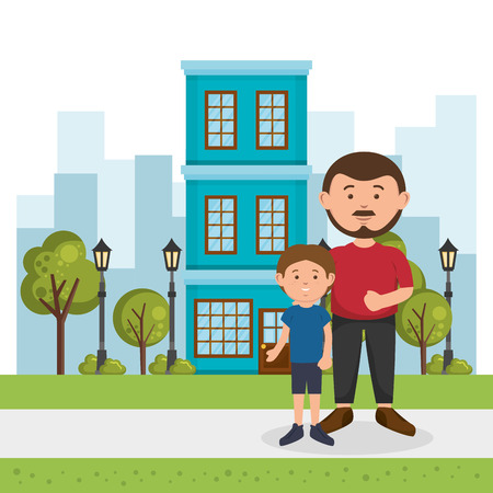 father with son on the park vector illustration design Illustration