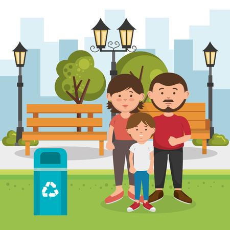 family members on the park vector illustration design