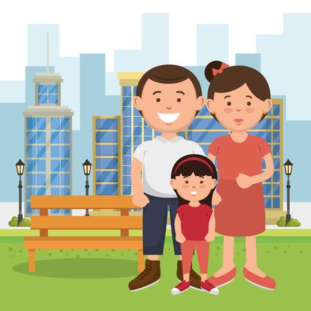 Familienmitglieder auf dem Parkvektorillustrationsentwurf