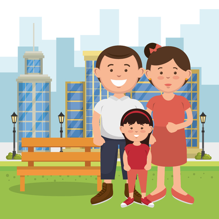 membres de la famille sur la conception d & # 39; illustration vectorielle parc