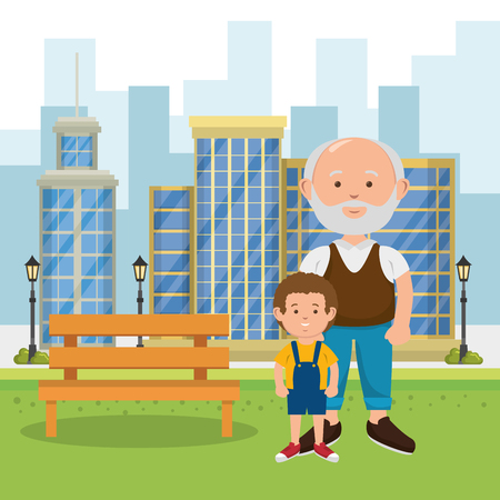 grandfather with grandson on the park vector illustration design