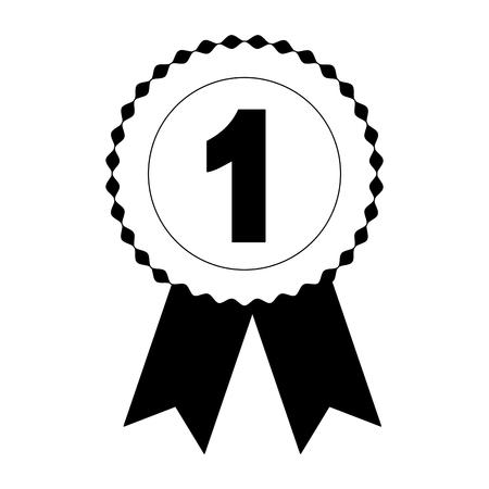 rosette medal award number one competition vector illustration