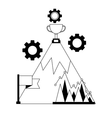 business success mountain trophy flag chart gears vector illustration Illustration