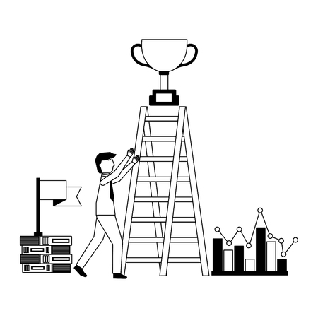 businessman with stairs trophy on top flag diagram vector illustration