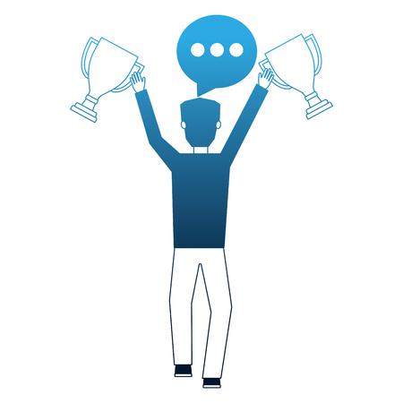 businessman holding trophies award speech bubble vector illustration neon Иллюстрация