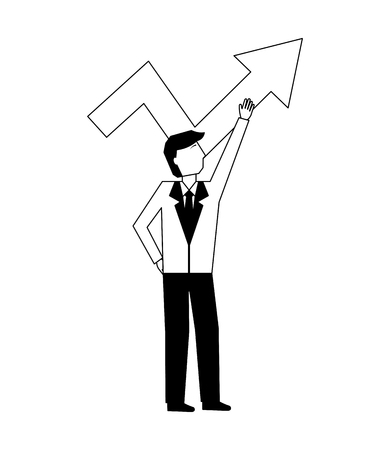 businessman pointing arrow up profit business vector illustration